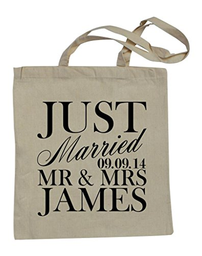 Cotton Natural Surnames Personalised Just Shopping Bag Married RPS Date qwFgC