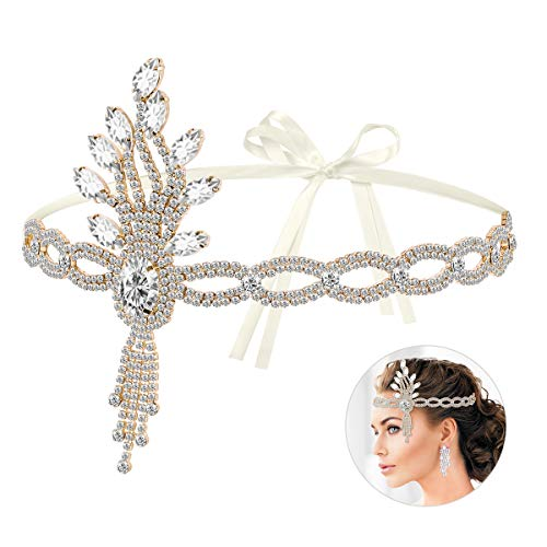 - Lurrose Vintage Headpiece 1920s Leaf Medallion Headband Wedding Bridal Themed Party Hair Accessories for Women