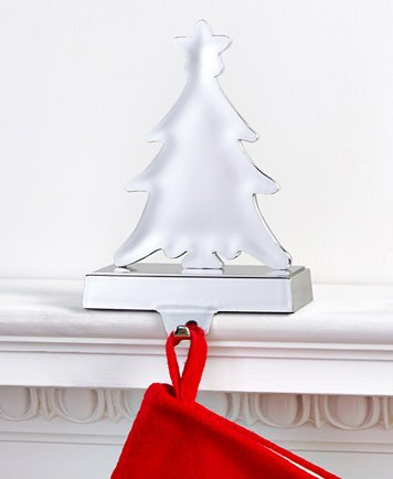 Christmas Tree Stocking Holder.Amazon Com Holiday Lane Silver Christmas Tree Stocking Holder Home