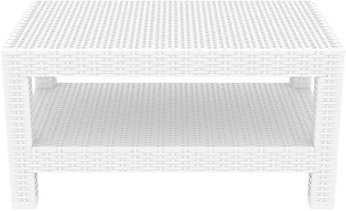 Compamia Monaco Outdoor Coffee Table in White, Commercial Grade
