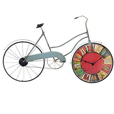 Hunter Garden Crafts Retro Style Creative Bicycle Wall Clock, Wall Decoration Wrought Iron Personalized Silent Clock - Retro and elegant shape handmade polished wild style three-dimensional body texture excellent mute precision fine exquisite beauty long life Suit for home, library, office, café, restaurant or wherever you want to enjoy a wonderful time. Adopt advanced quartz movement, quiet and accurate, no more annoying ticking which provides peaceful and comfortable moment. - wall-clocks, living-room-decor, living-room - 41UFMb8UO0L. SS400  -