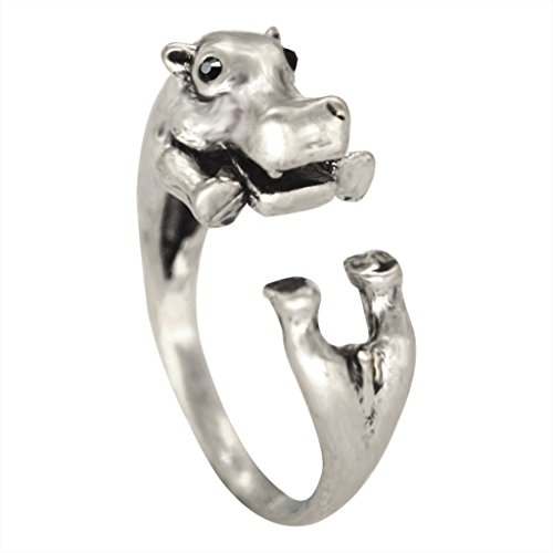 Chengxun Antique Silver Tone Realistic Hippo Animal Wrap Ring Fashion Jewelry for Woman and Girls