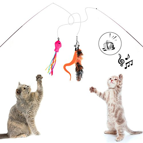 Sunnysunnie Cat Feather Toys Catnip Toy Wand Interactive Teaser Set Replacement Crinkle balls Fish Worm for Cats Kitten 14 Refills by Sunnysunnie (Image #1)