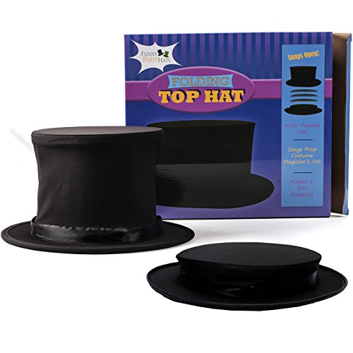Magician's Assistant Costume (Costume Hats - Top Hat - Magician Costume - Collapsible Black Hat Magic Trick by Funny Party Hats)