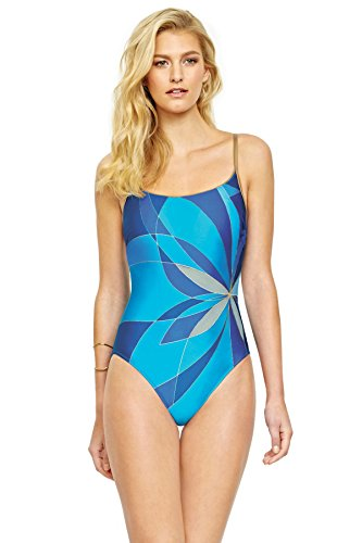 Gottex One Piece Swimsuit (Gottex Women's Printed Crossback Scoop Neck One Piece Swimsuit, Kaleidoscope Multi/Blue, 8)