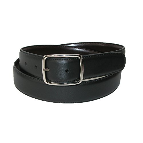 Aquarius Men's Big & Tall Leather Reversible Center Bar Dress Belt, (Aquarius Leather Belt)