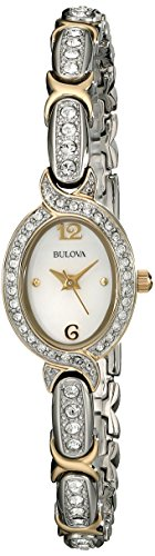 Ladies Bulova Crystal Watch (Bulova Women's 98L005 Swarovski Crystal Two Tone Bracelet Watch)