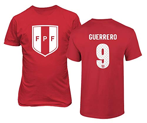 Tcamp National Soccer 2019 Peru #9 Paolo Guerrero Copa America Boys Girls Youth T-Shirt (Red, Youth X-Large)