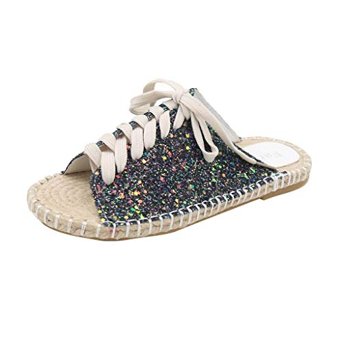 Women's Shoe Flax Slippers Flat Bottom Leisure Lace Straw Knitting Shoes Breathable Crochet Lace Flats Shoes for Women(Beige,35-39) ()