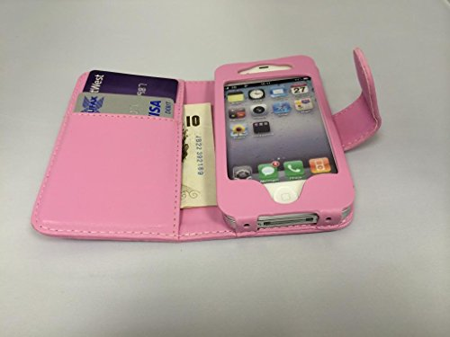 Super Best di Apple iPhone 4 4S Rosa Chiaro Portafoglio con due fessure per carta PU Leather Case Cover per Apple iPhone 4 4S