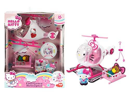 41UFQ4bUiJL Helicóptero de juguete de Hello Kitty diseñado en colores brillantes rosa y blanco, recomendado para niños a partir de 3 años Equipado con una cabina de cristal cuyo parabrisas puede abrirse muy fácilmente; una pequeña figura de Hello Kitty toma su lugar en la palanca de conducción y tiene todo bajo control La camilla se puede sujetar a la parte inferior del helicóptero para poder despegar sin problemas