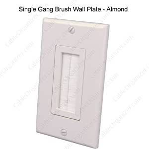 Vanco Industrial, toma de corriente impermeable individual cepillo Cable de salida placas de pared, blanco, 11,43 cm  H X 6,99 cm  W X 0,56 cm D, plástico , Unidades: 1