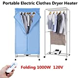 Portable Electric Clothes Dryer Heater Drying Rack RV Wardrobe Laundry + Remote