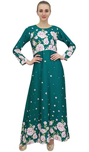 Acqua Maxi Delle Stampata Verde Lungo Casuale Bimba Progettista Digitale Donne Verde Vestito Floreale gwnA8