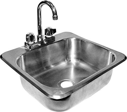 Sink Backsplash Bowl 4 (ACE Stainless Steel Drop in Hand Sink with No Lead Faucet and Strainer, 20-1/4 by 17-Inch)
