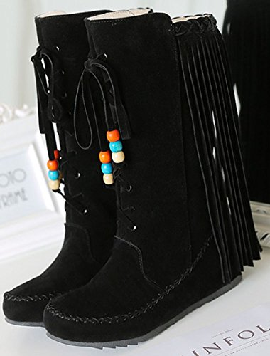 IDIFU Womens Trendy Fringe Side Zip Up Mid Wedge Heel Round Toe Faux Suede Mid Calf Boots Black B908tiI