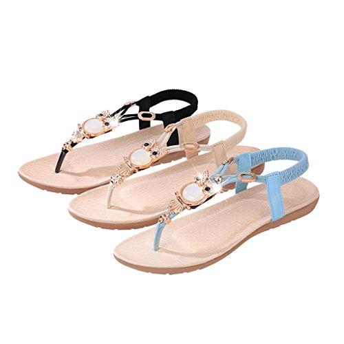 Beige Donna Ragazze Stile Piatta 37 Spiaggia Boemia Da Estate Sandali Sharplace Scarpe Paio RqwPvHHUB