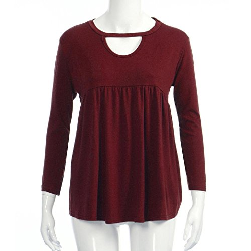 T Plis O Rouge Shirt Volants Cou Blouse Casual Manches Longues Femmes Tops Solid MuSheng TwvYBx