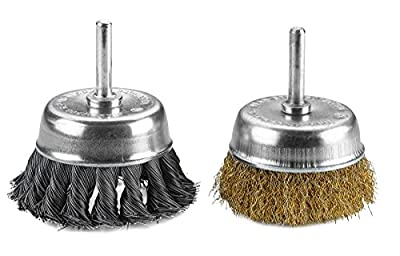 Wire Wheels Brush - 2 Pack Knotted & Crimped Cup For rust removal, corrosion and paint. Hardened steel wire for reduced wire breakage & longer life.- By Katzco