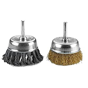 2 Pack 3 Inch Knotted & Crimped Cup Wire Wheels Brush. For rust removal, corrosion and paint. Hardened steel wire for reduced wire breakage & longer life.- By Katzco