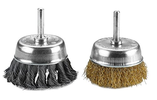Katzco Wire Wheels Brush - 2 Pack Knotted & Crimped Cup For rust removal, corrosion and paint. Hardened steel wire for reduced wire breakage & longer life (Best Paint Brush For Primer)