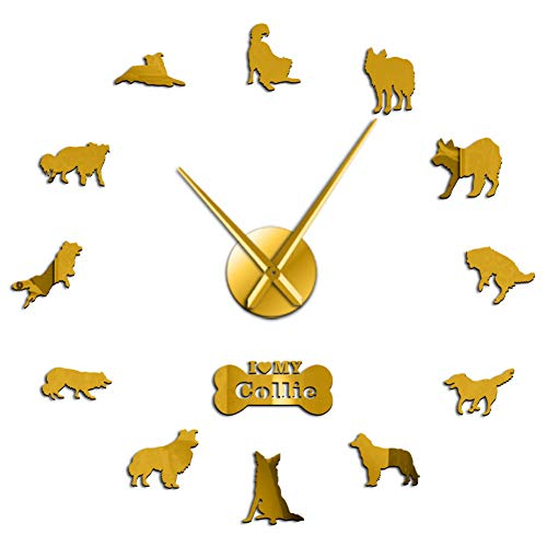GUABOHHY Dog Breed Border Collie Silhouette Wall Sticker Frameless DIY Giant Wall Clock Home Decor Scottish Sheepdog Dog Paw Wall Clock