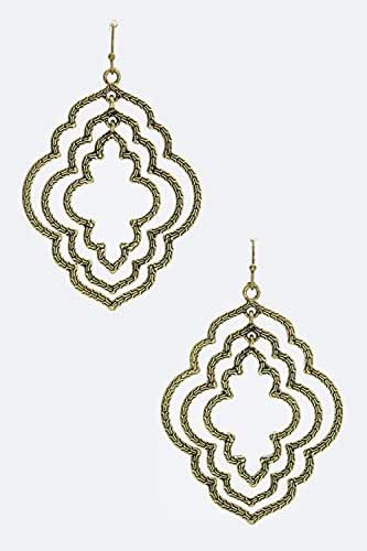 Trendy Fashion Jewelry Layered Textured Cutout Drop Earrings By Fashion Destination