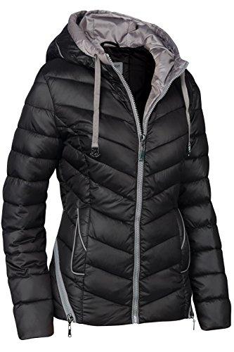 plumón cremallera invierno de de Chaqueta Mujer esquí Capucha aspecto negro acolchada para corta cuello 6qBnwn87