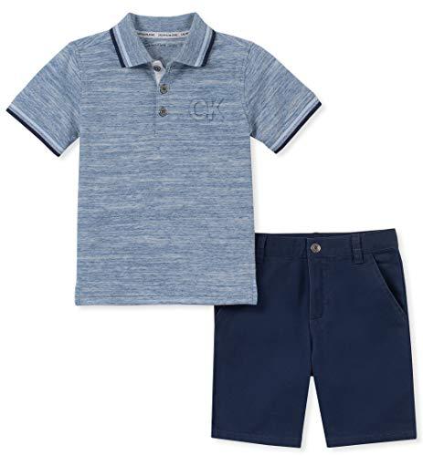 Calvin Klein Boys' Little 2 Pieces Polo Shorts Set, Navy, 6