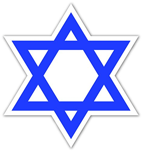 "Israel State Jewish Star of David Vinyl Decal Bumper Sticker 4"" X 5"" -"