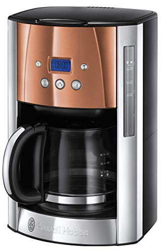 Russell Hobbs Luna Filter Coffee Maker 1.8 Litre Programmable Coffee Machine with Timer and Auto Keep Warm, Copper…