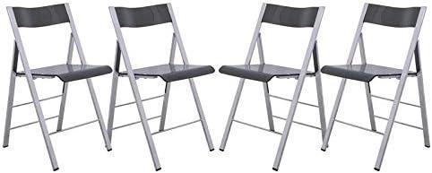 LeisureMod Modern Menno Acrylic Chrome Dining Folding Chair