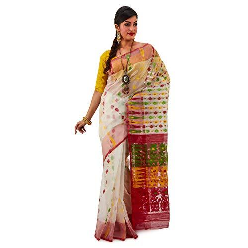 SareesofBengal Women's Silk Cotton Jamdani Dhakai Saree Bengal Cotton Saree Handloom Bengali Saree Indian Ethnic Wedding Gift Saree Muslin Silk Saree Party Wear Sarees Red And White Saree (Best Gift For Bengali)
