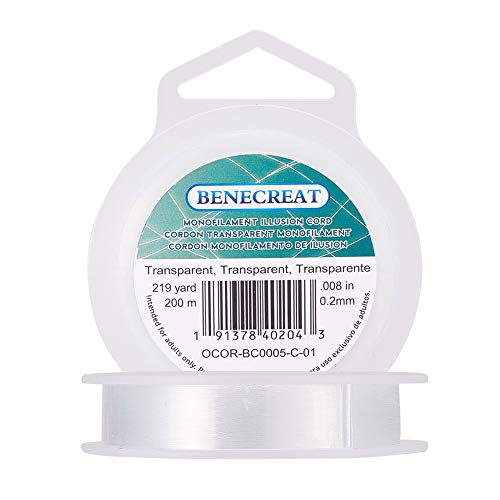 BENECREAT 200m 0.2mm Fishing Nylon Beading Thread Wire for Hanging, Bracelet and Jewelry Making (0.2 Mm Wire)