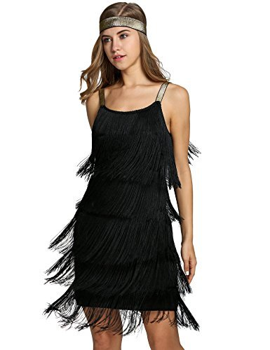 1920s Sequined Inspired Beaded Gatsby Flapper Evening Dress Prom, A-black, X-Large -
