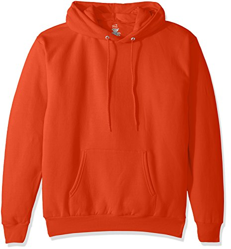 Hanes Men's Pullover EcoSmart Fleece Hooded Sweatshirt, Orange -