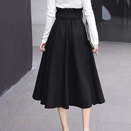 1316 Patineuse Longue Black Haute Femmes Taille Jupe Line 5000 Fte A vase Laine Plisse Jupe 0vr4UqvwxB