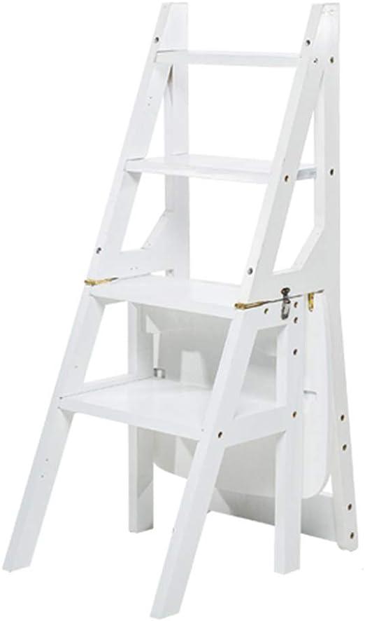 CAIJUN Taburete Escalera Madera Maciza multifunción Montaje Plegable Impermeable Respetuoso con el Medio Ambiente, Escalera de 4 peldaños, 3 Colores de Doble Uso: Amazon.es: Juguetes y juegos