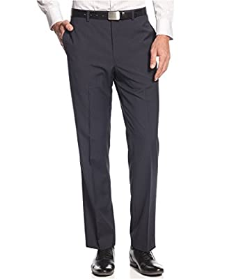 Calvin Klein Men's Checkered Flat Front Dress Pants Black 40Wx30L