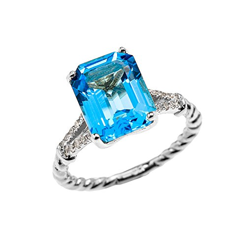 Blue Topaz Rope Ring - 14k White Gold Dainty Diamond and Emerald Cut Solitaire Blue Topaz Rope Design Engagement/Promise Ring(Size 6)