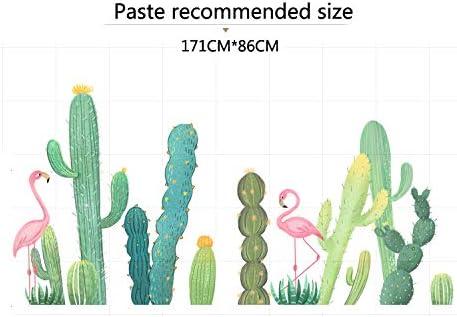 Sticker mural Petite d/écoration de chambre fille flamant rose cactus frais