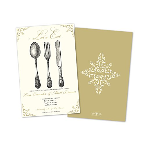 Cream Invitations (Let's Eat Rehearsal Dinner Invitation - Cream)