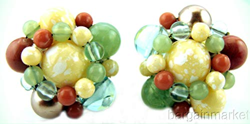 (Vintage Pastel Seed Bead Knot Cluster Post Pierced Earrings For Women)