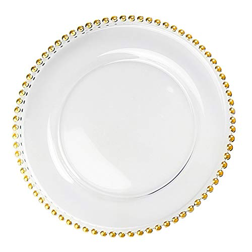 FANGCanju Gold Beaded Glass Charger Plate,Clear Glass Charger Dinner Plate with Beaded Rim Plates Dinner Chargers,27cmindiameter