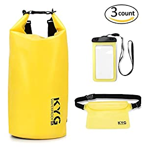 Waterproof Dry Bags Set for 20L Roll Top Dry Gear Backpack Waist Pouch Phone Case for Kayaking boating Canoeing Fishing Rafting Swimming Camping Snowboarding
