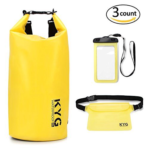 - KYG Waterproof Dry Bags Set for 20L Roll Top Dry Gear Backpack Waist Pouch Phone Case for Kayaking boating Canoeing Fishing Rafting Swimming Camping Snowboarding