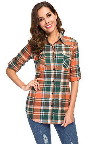 Women's Roll up Long Sleeve Boyfriend Button Down Plaid Flannel Shirt, Casual Checkered Tartan Cuffed Collared Blouse Tops, Orange, US Size Large