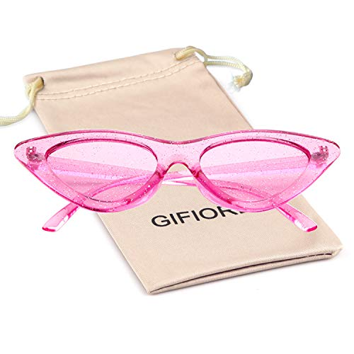 Gifiore Retro Vintage Cateye Sunglasses for Women Clout Goggles Plastic Frame Glasses (Clear Rose Red GLITTER, 51)