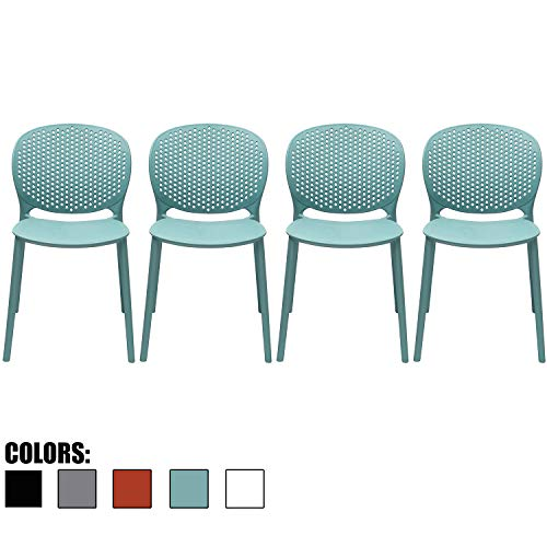 2xhome Set of 4 Blue Contemporary Modern Stackable Assembled Plastic Chair Molded with Back Armless Side Matte for Dining Room Living Designer Outdoor Garden Patio Balcony Work Office Desk Kitchen