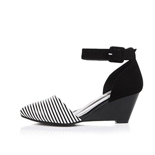 Adee Zapatos Bombas de hebilla de rayas esmerilado Negro - negro
